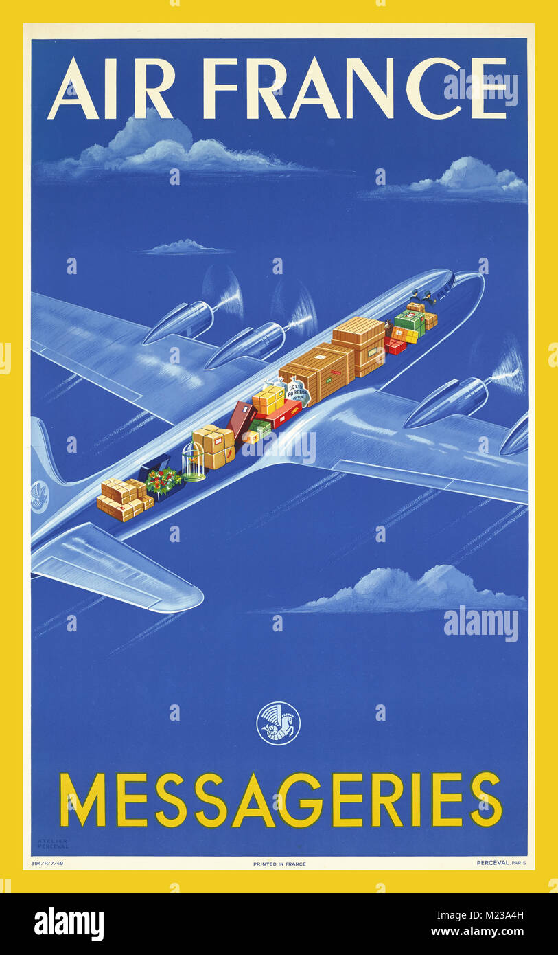 1940s Vintage Airline Poster Air France Messageries Distribution Or Parceling Service Advertising