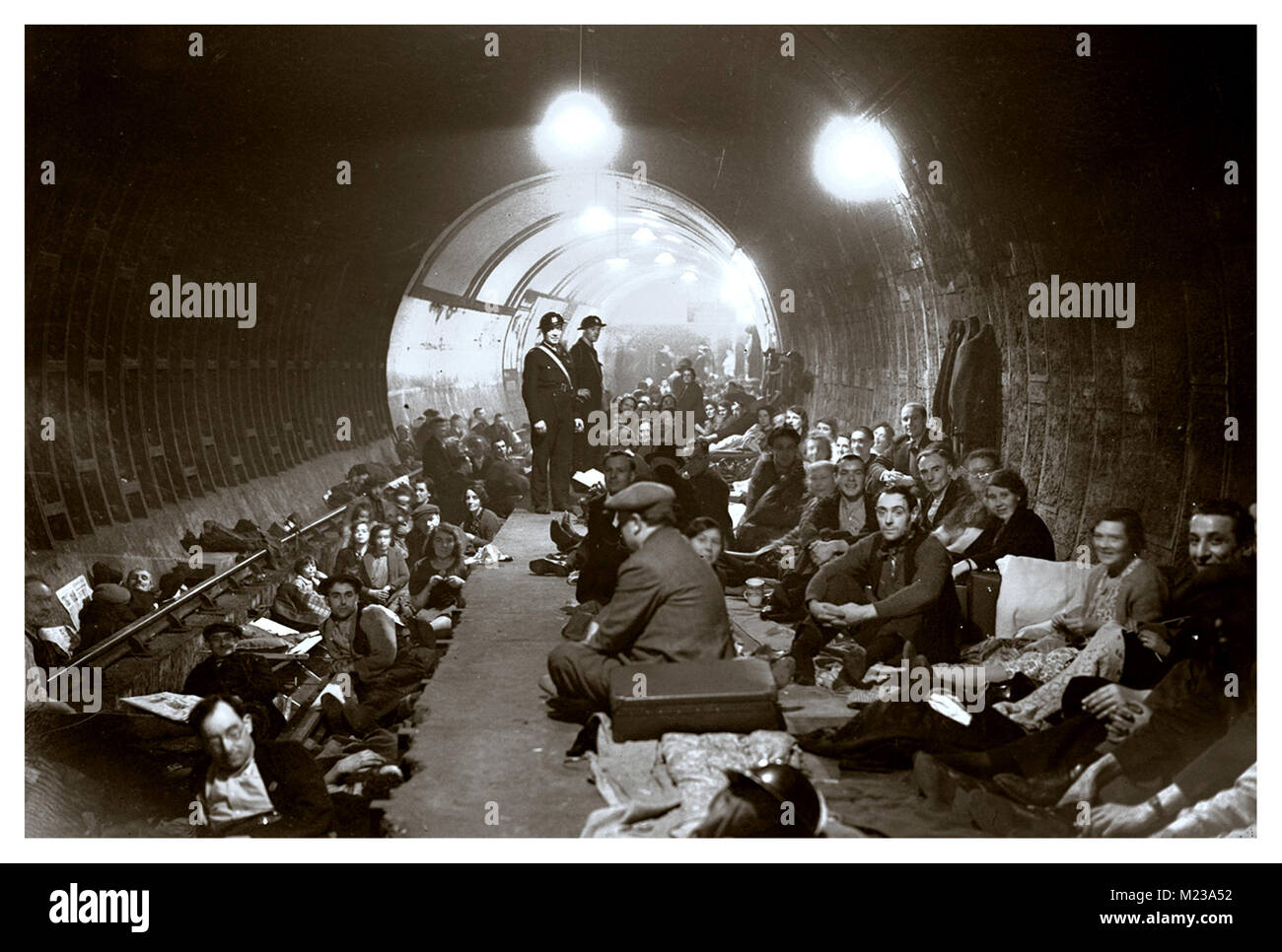WW2 1940's London Blitz.. Tube station acting as a safe haven for London residents against sustained terror - Stock Image