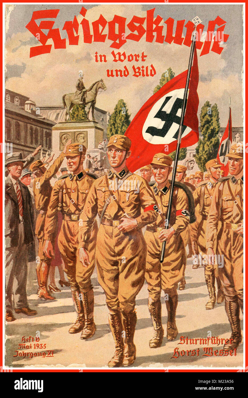 1935 Nazi Propaganda Poster with NSDAP uniformed party members declaring Warfare in word deed and image - Stock Image