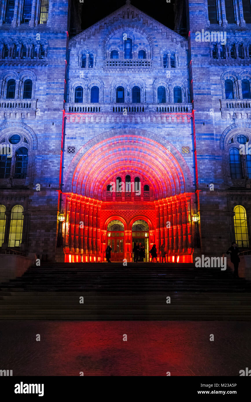 The entrance to the iconic Natural History Museum illuminated in red and blue colours in the evening for an event, - Stock Image