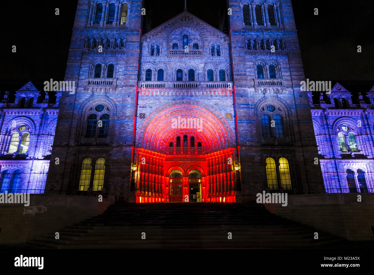 The entrance to the iconic Natural History Museum illuminated in red and blue colours in the evening for an event, Stock Photo