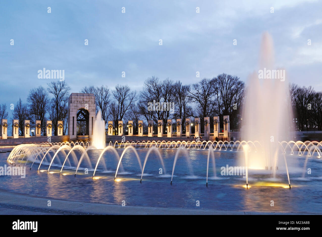 National World War II Memorial in Washington D.C. dedicated to Americans who served in the armed forces and as civilians Stock Photo