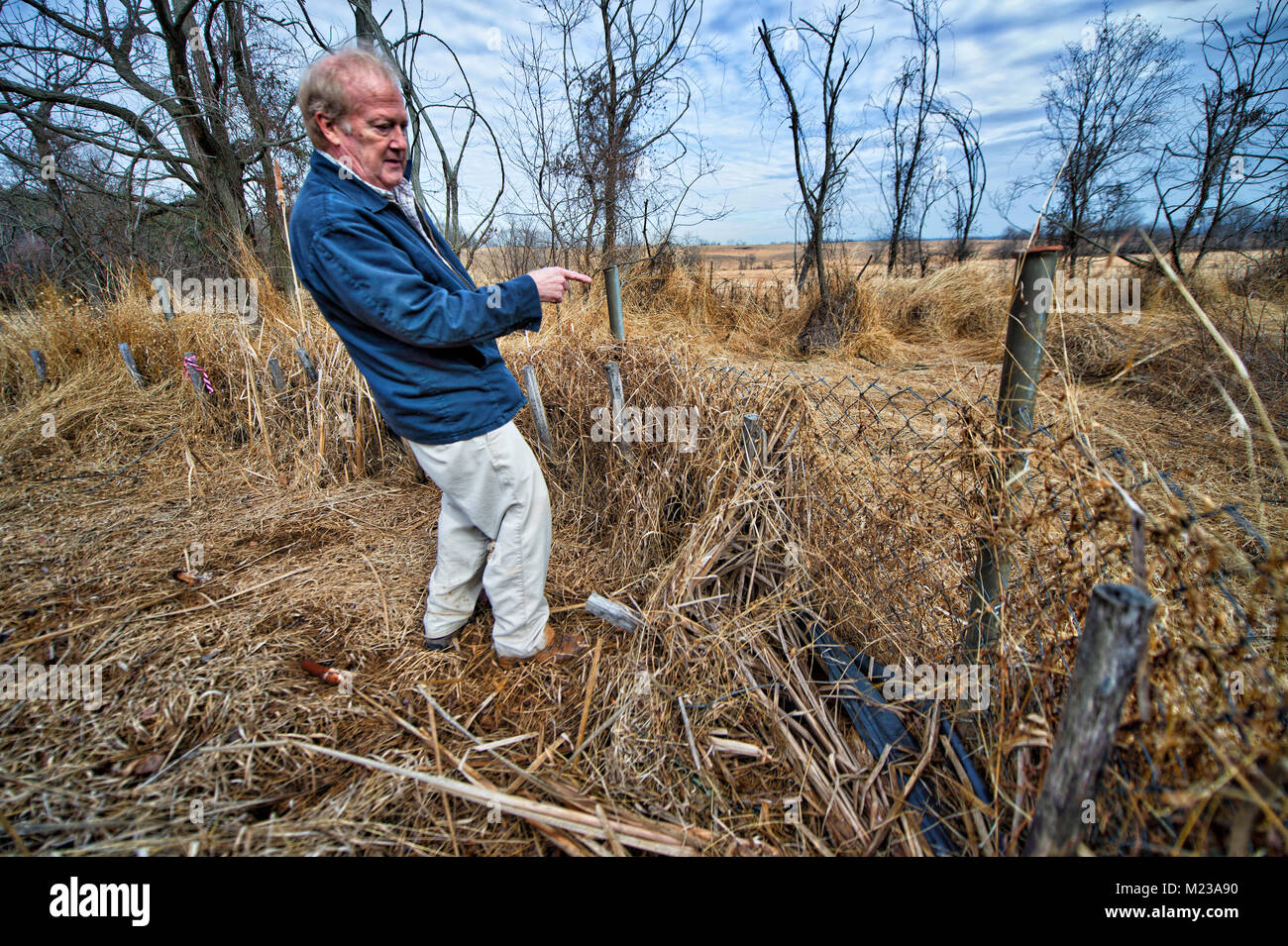UNITED STATES: 2018: George Biller a resident of Historic Selma Estates stands in a drainage area that he says does - Stock Image