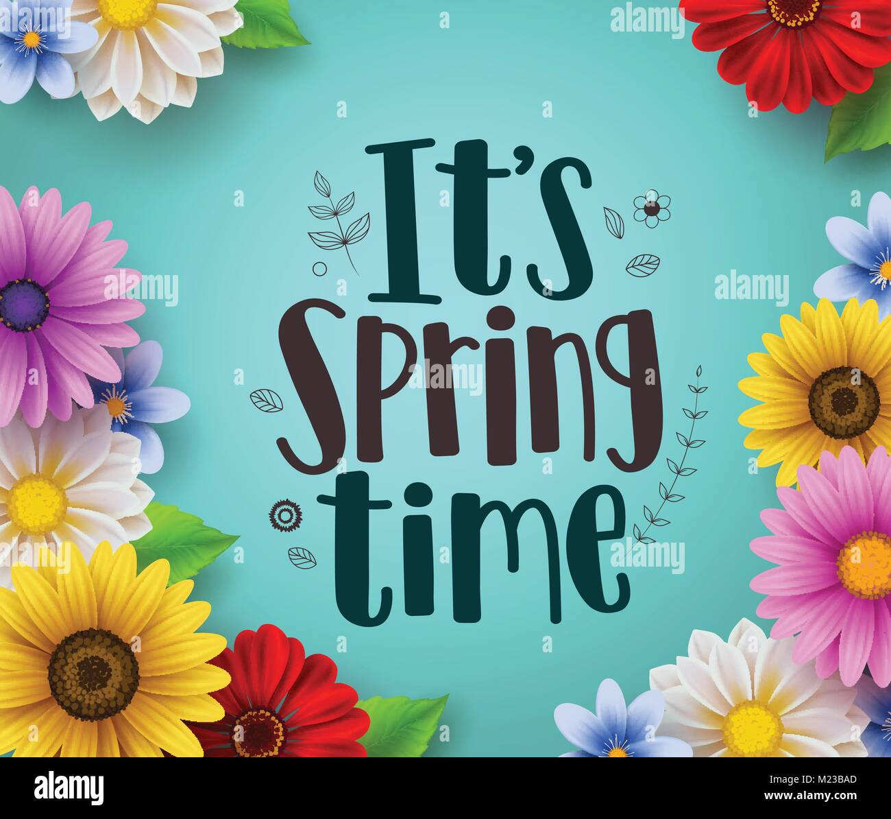 its spring time text vector greeting design with colorful