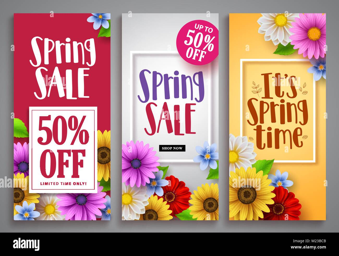 Spring sale vector poster set with colorful background
