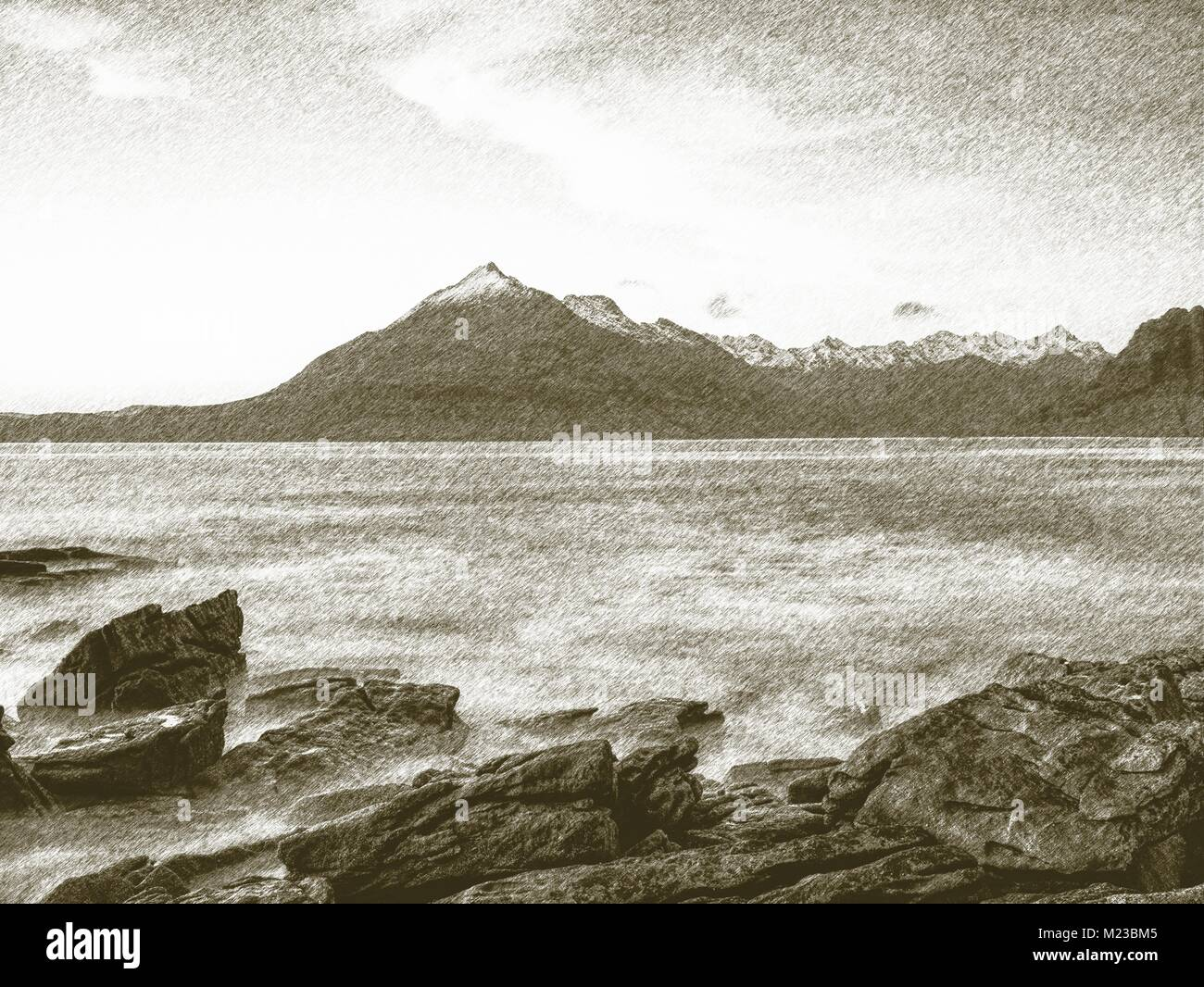 Copy of old lithographic technique.  Low angle  overlooking of offshore rocks and smooth sea, mountains at horizon - Stock Image