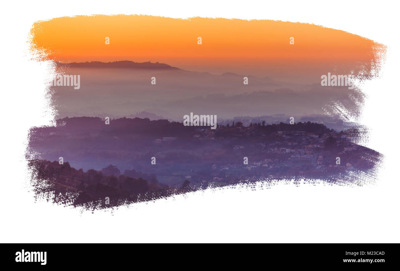 Landscape with the sunset sky isolated on white - Stock Image