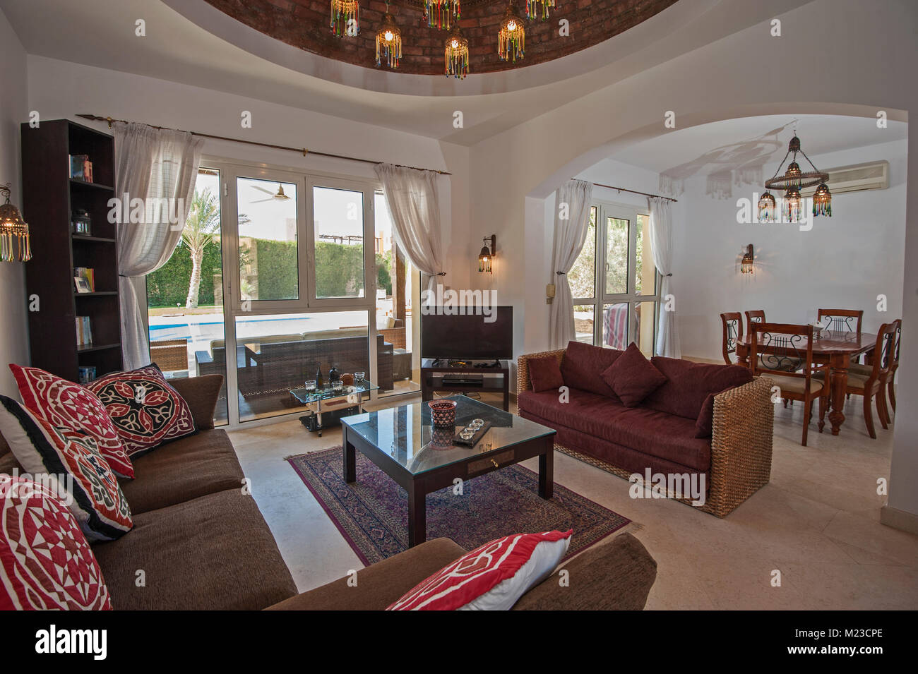 Living room lounge area in luxury villa show home showing interior ...