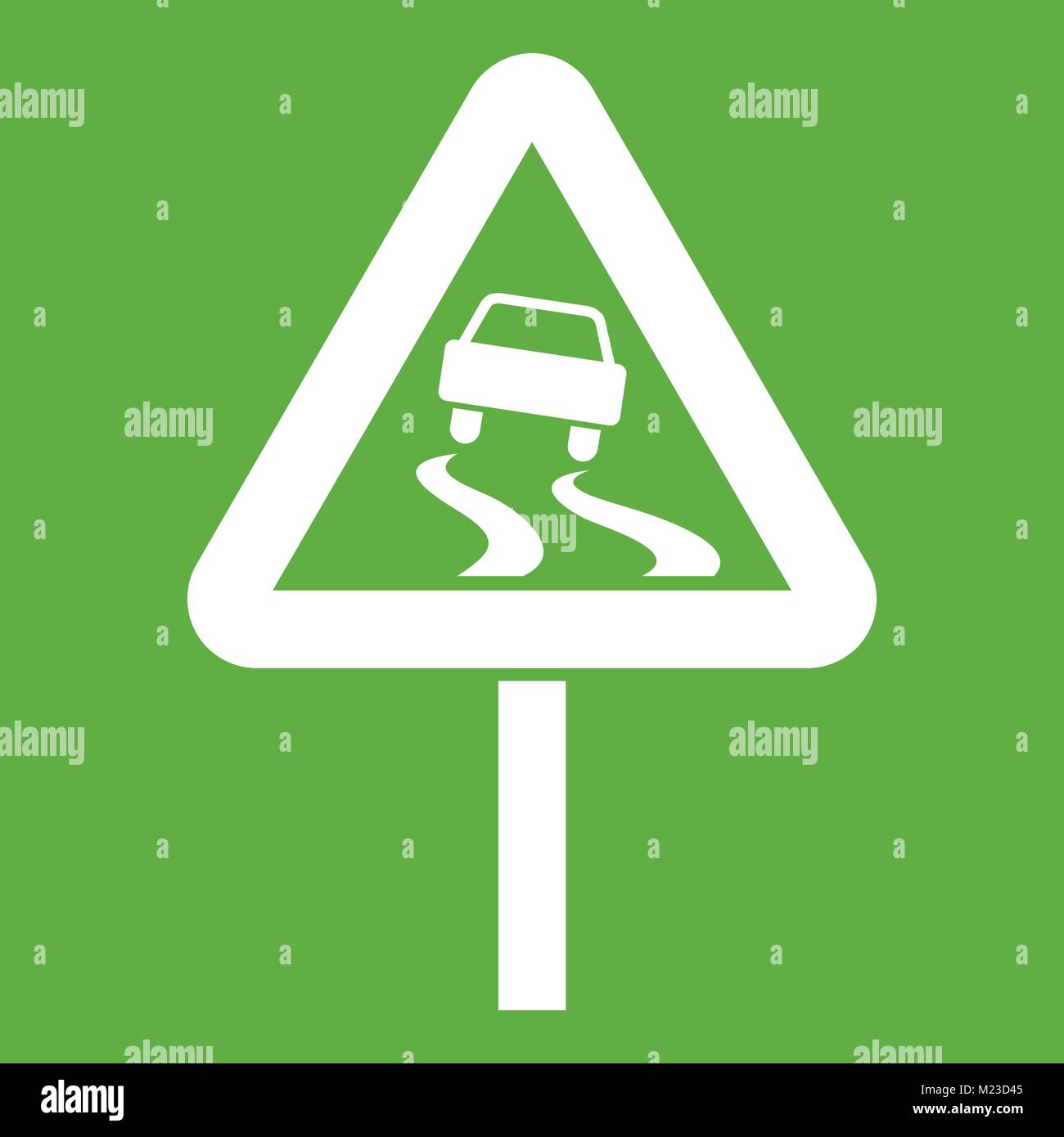 Slippery when wet road sign icon green - Stock Vector