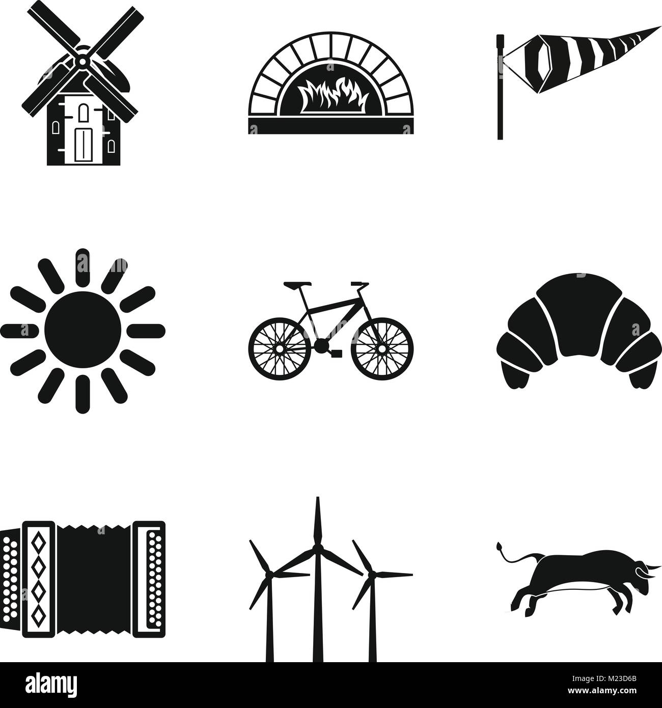 Rural locality icons set, simple style - Stock Vector