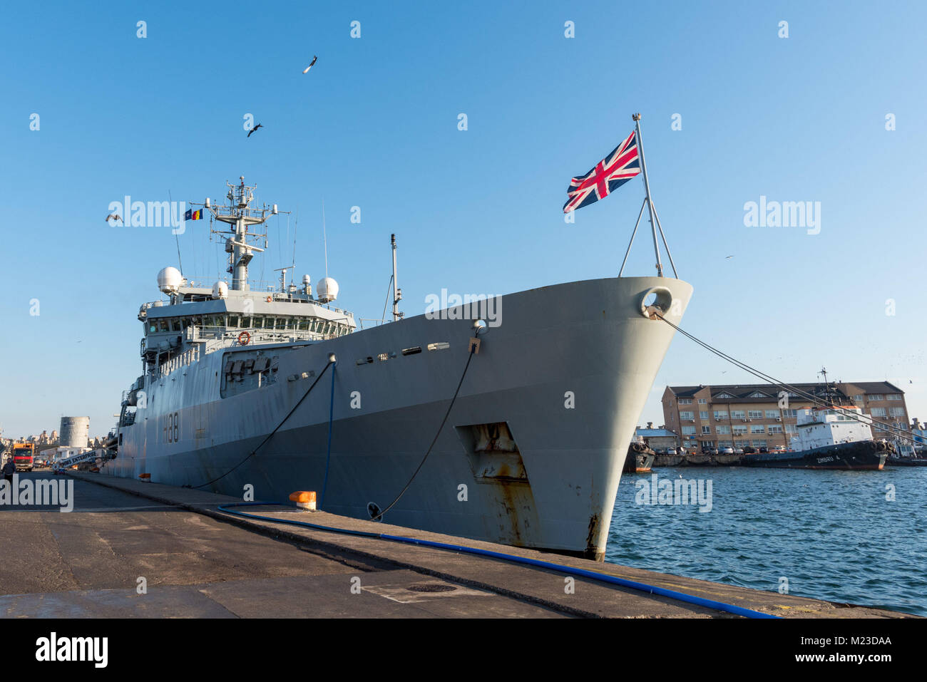 CONSTANTA, Romania, Feb 1. 2018. HMS Enterprise, Standing NATO Mine Countermeasure Group Two (SNMCMG2) flagship, - Stock Image