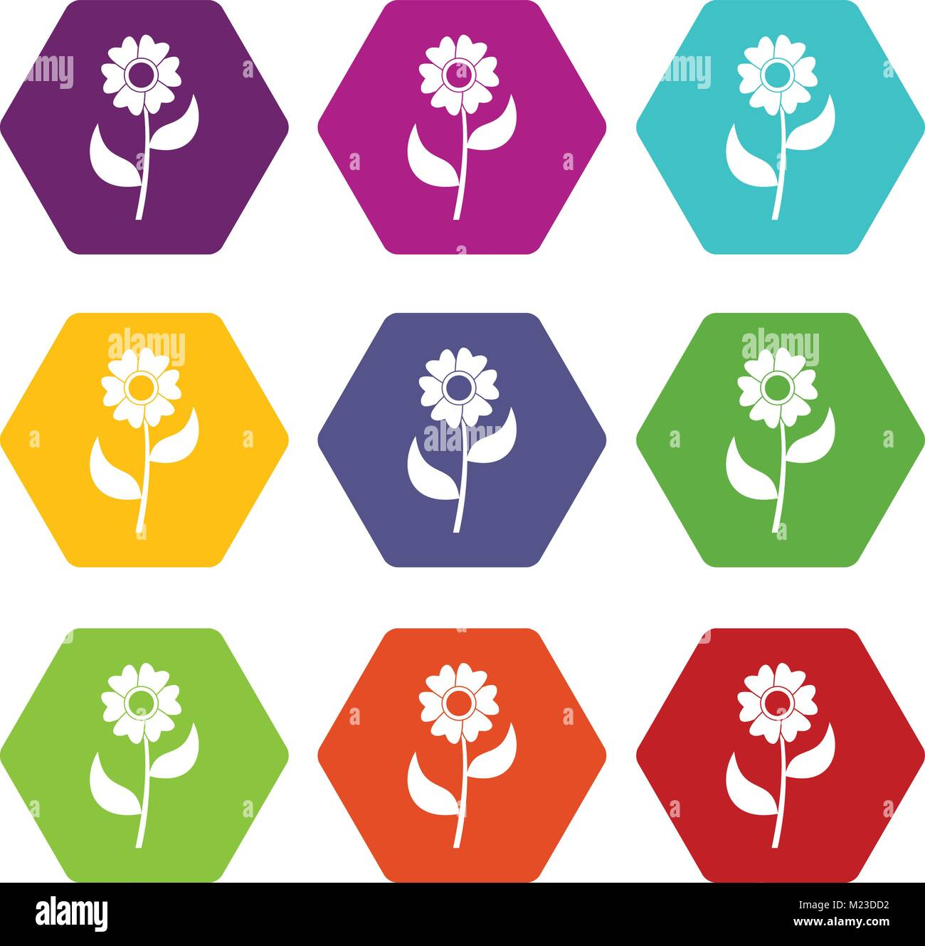 Flower icon set color hexahedron - Stock Image