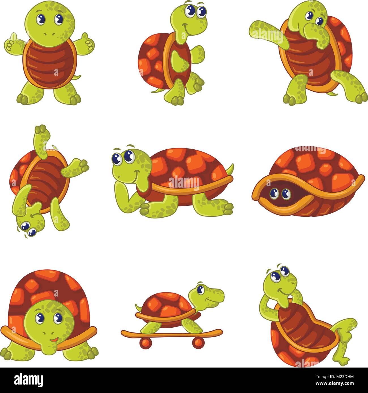 Happy turtle icons set, cartoon style - Stock Vector