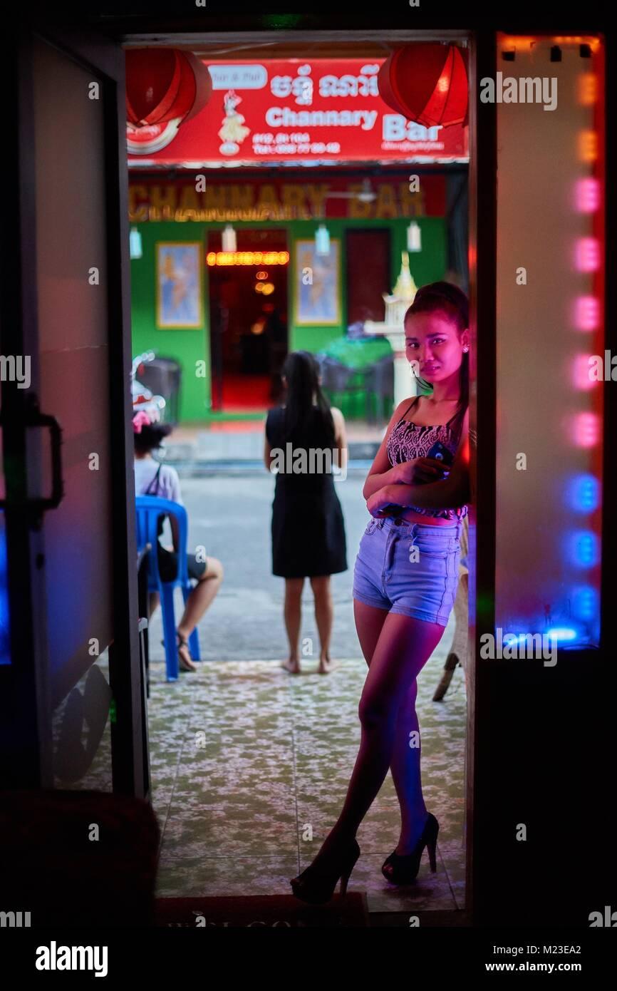 Cambodian bargirl, Phnom-Penh, Cambodia - Stock Image