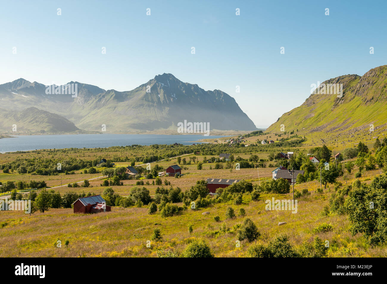 Rural summer landscape on Lofoten islands in northern Norway. Lofoten is a popular tourist destination. - Stock Image