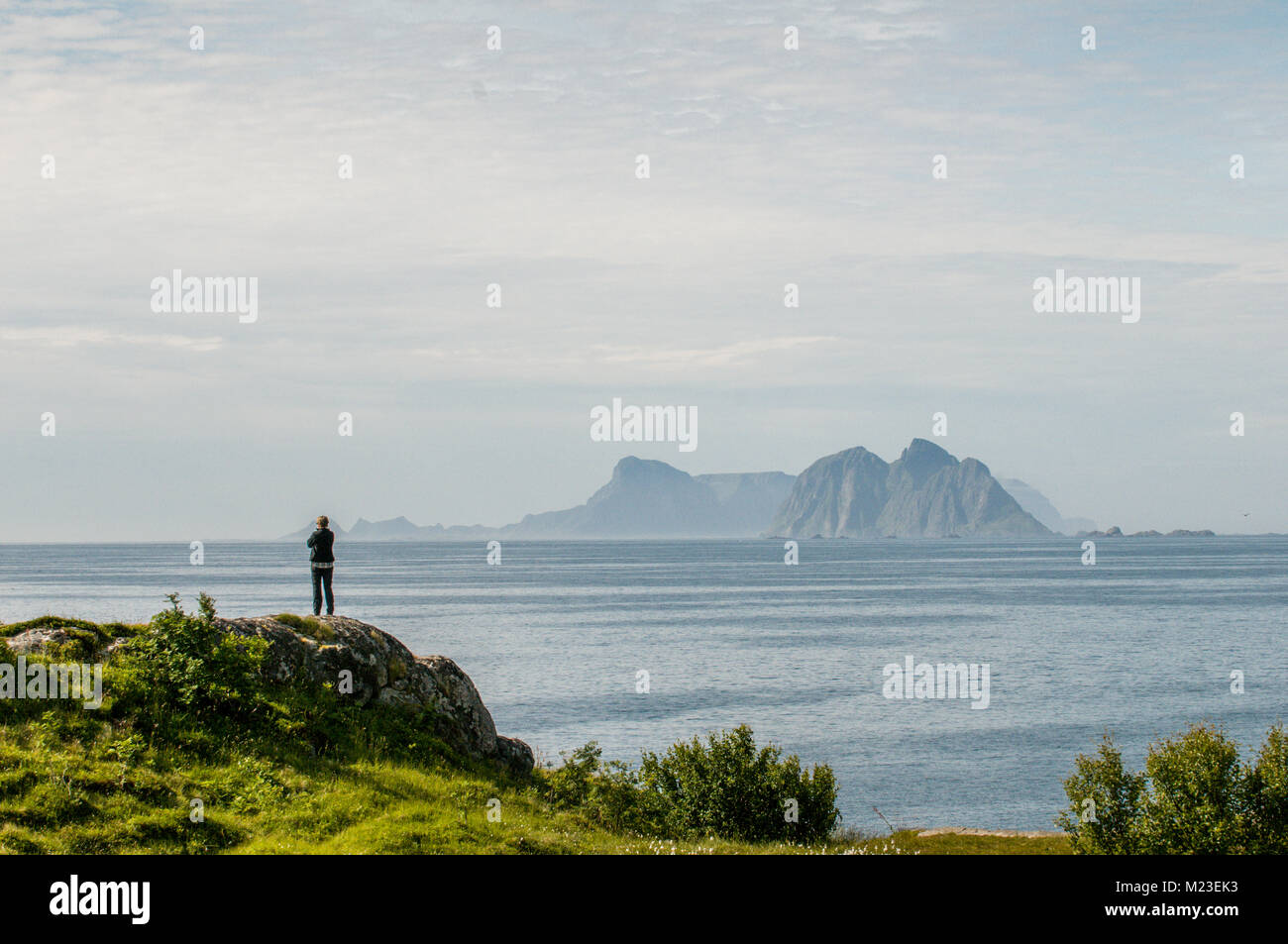 End of the road in Lofoten. Route E10 ends at Å, Moskenes in the southernmost part of the Lofoten archipelago. - Stock Image
