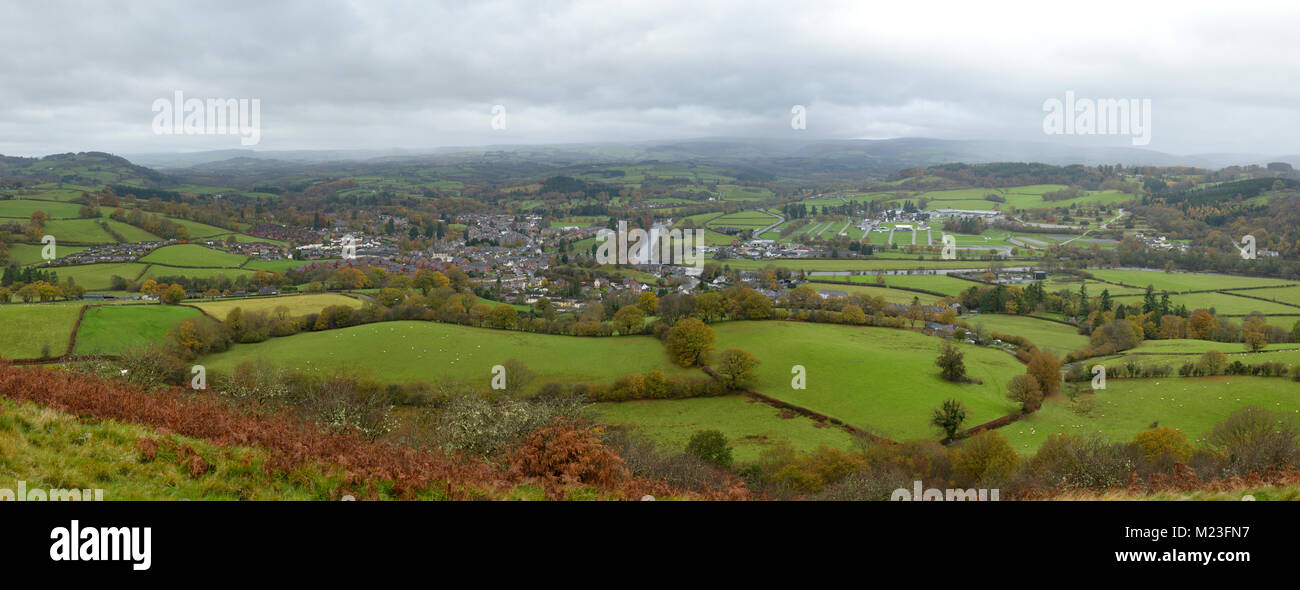 Builth Wells, the River Wye and Llanelweddd Royal Welsh Showground Panorama from Garth Trig Point - Stock Image
