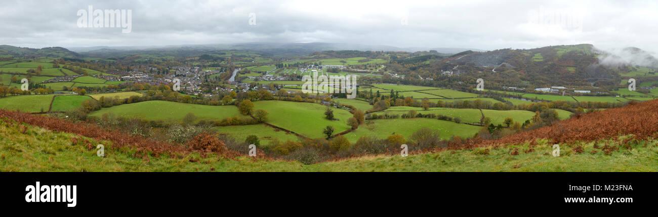 Builth Wells, the River Wye, Llanelweddd Royal Welsh Showground and Llanelwedd Quarries Panorama from Garth Trig - Stock Image