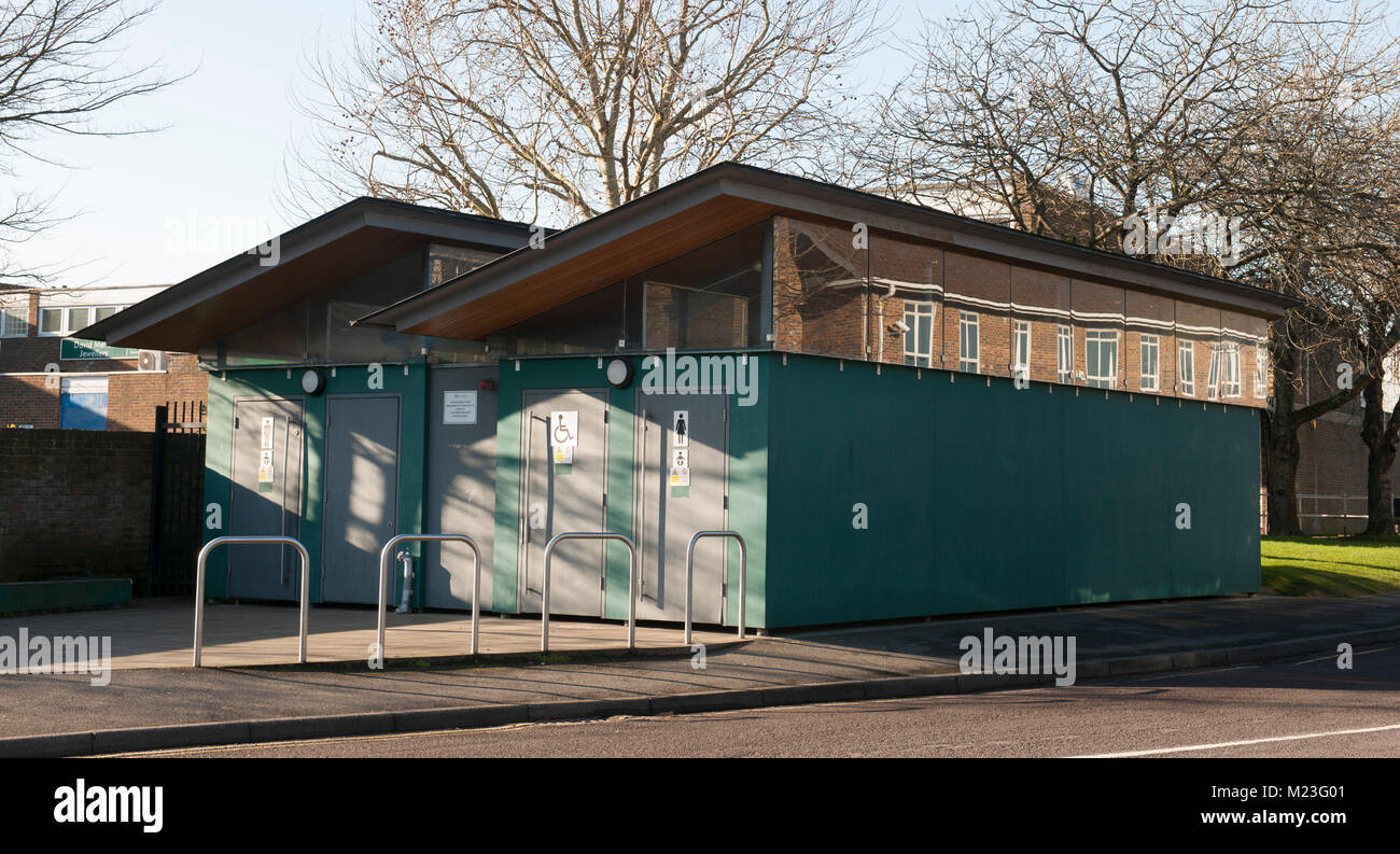 Modern public conveniences, Library Road, Totton, Hampshire, England, UK - Stock Image