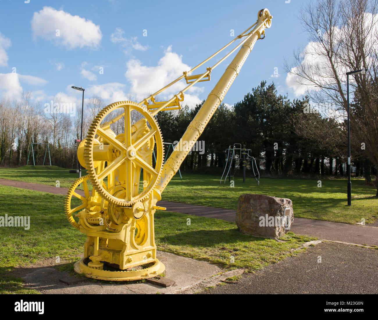 An old hoist on display at the Redbridge Wharf Park, beside the River Test at Redbridge, Southampton, Hampshire, - Stock Image