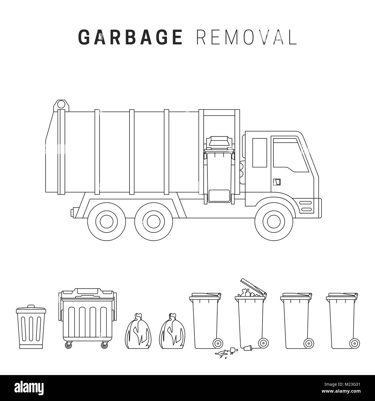 Garbage removal line drawing - Stock Vector