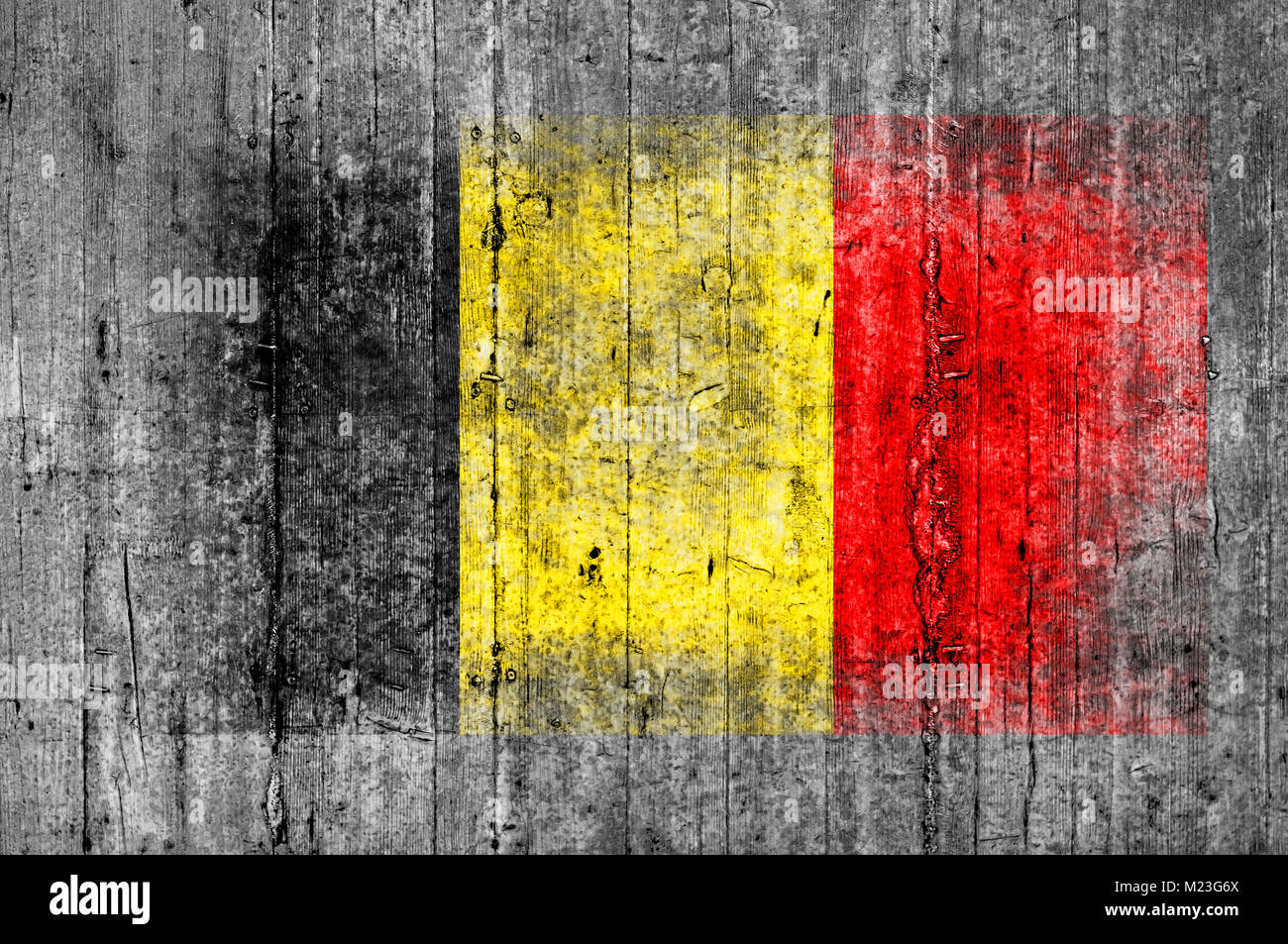 Belgium flag painted on background texture gray concrete - Stock Image
