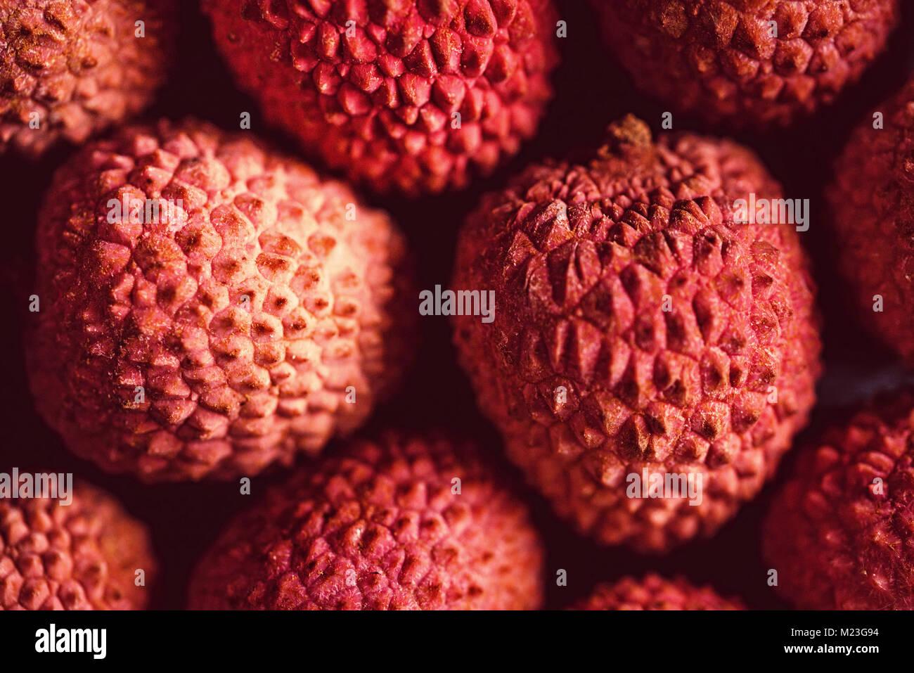 Fresh lychee background Stock Photo