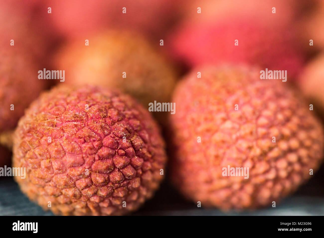Fresh lychee background - Stock Image