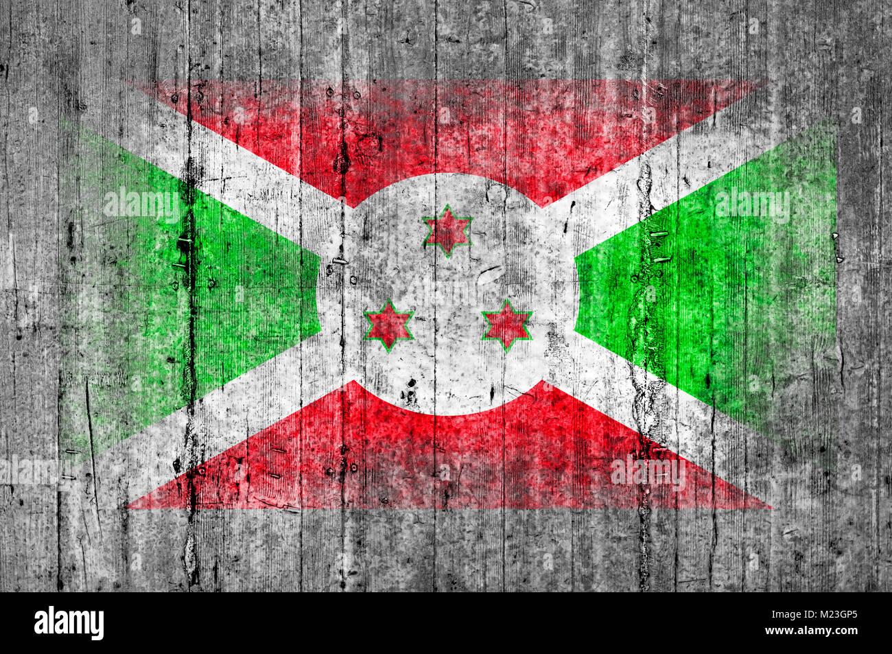 Burundi flag painted on background texture gray concrete - Stock Image