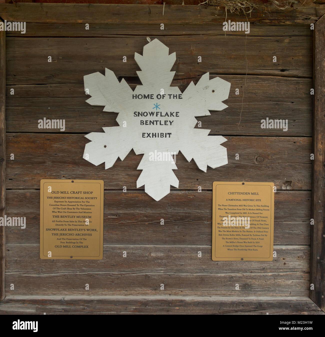 Snowflake Bentley Exhibit at the Jericho Historical Society VT - Stock Image