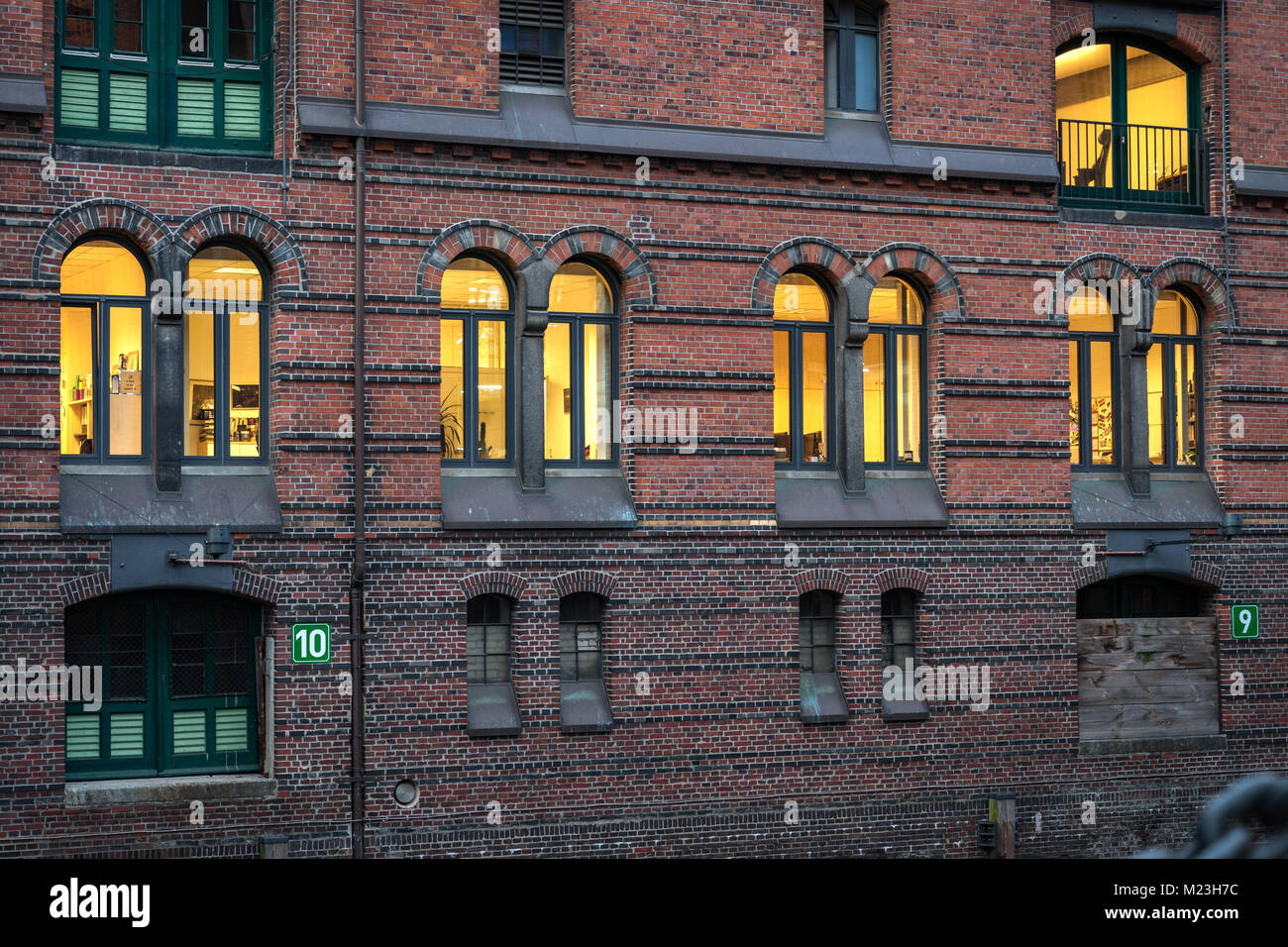 Detail of old Speicherstadt or warehouse in Hamburg, Germany - Stock Image