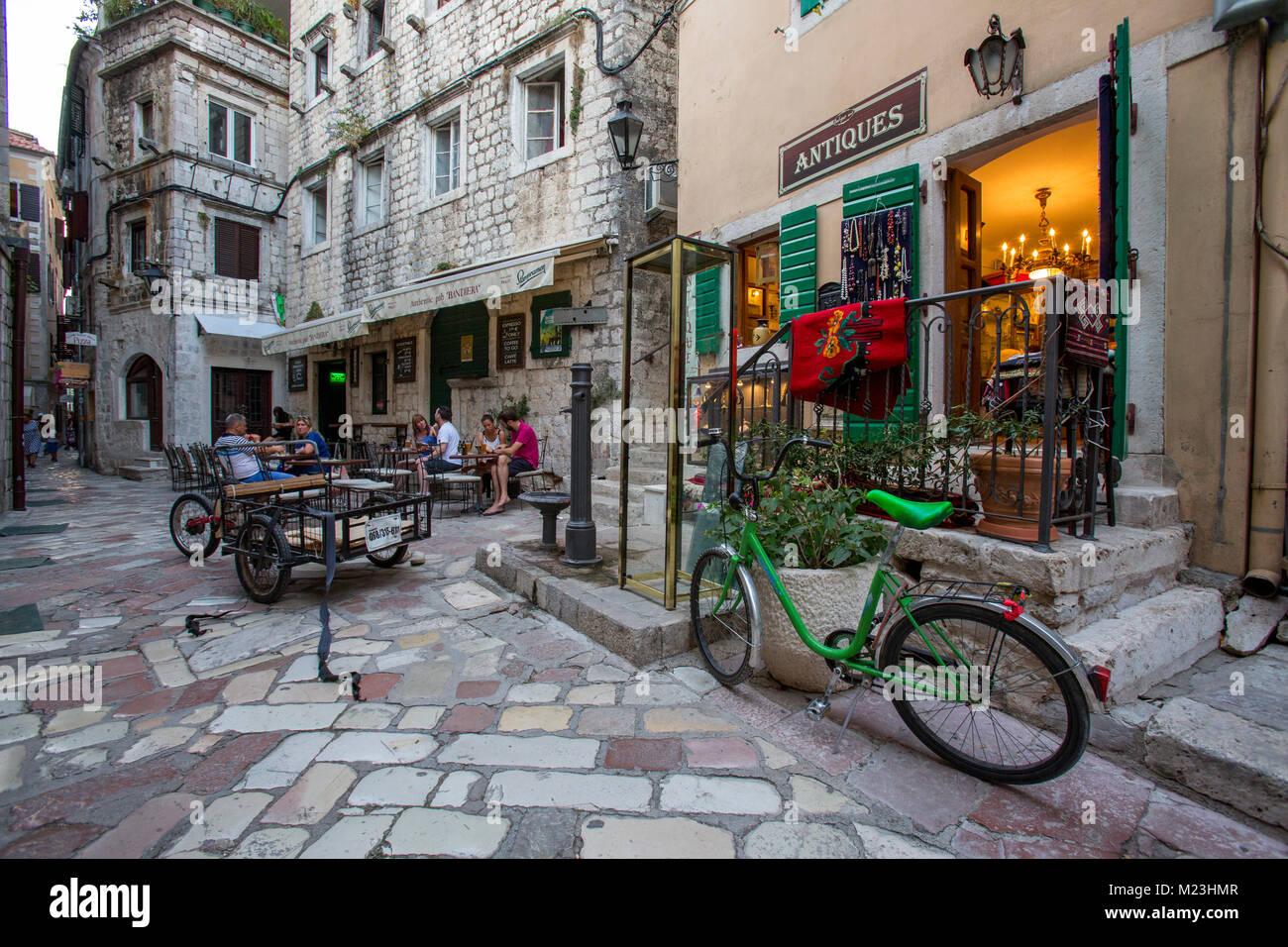 Cobblestone streets of Kotor, Montenegro Stock Photo