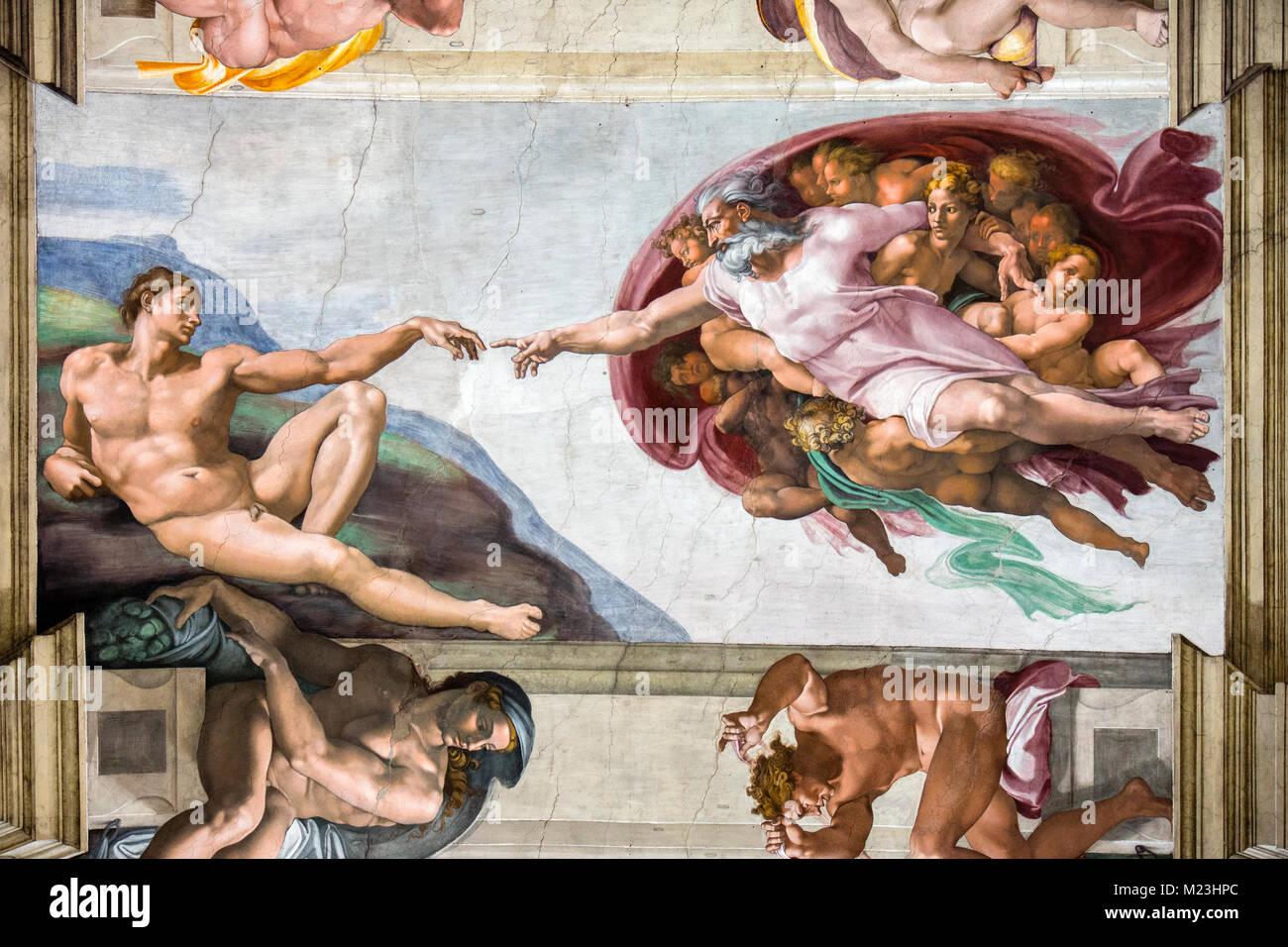 Michelangelo's Creation of Adam in the Sistine Chapel, Vatican museum, Rome, Italy - Stock Image