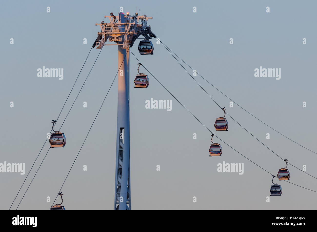 The Emirates Air Line over the River Thames in London England United Kingdom UK - Stock Image