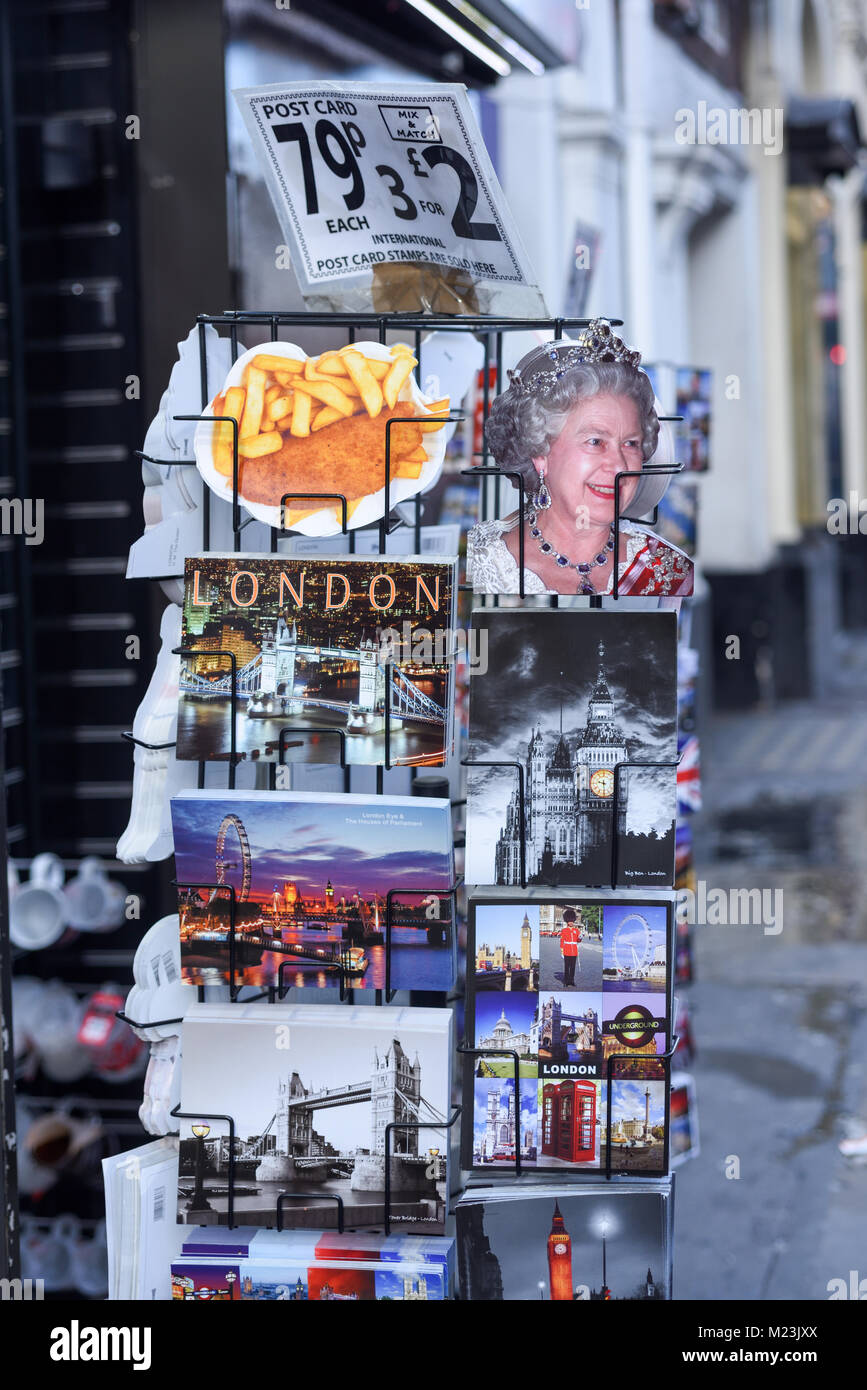 Iconic Picture Postcards of London for sale along Shaftesbury ave London,UK. Stock Photo
