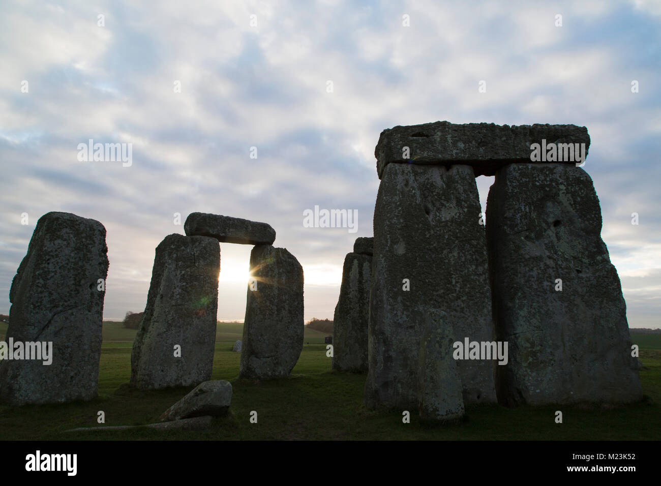 The Stonehenge stone circle in Wiltshire, England. The ancient monument dates from the Neolithic era, around 5,000 - Stock Image