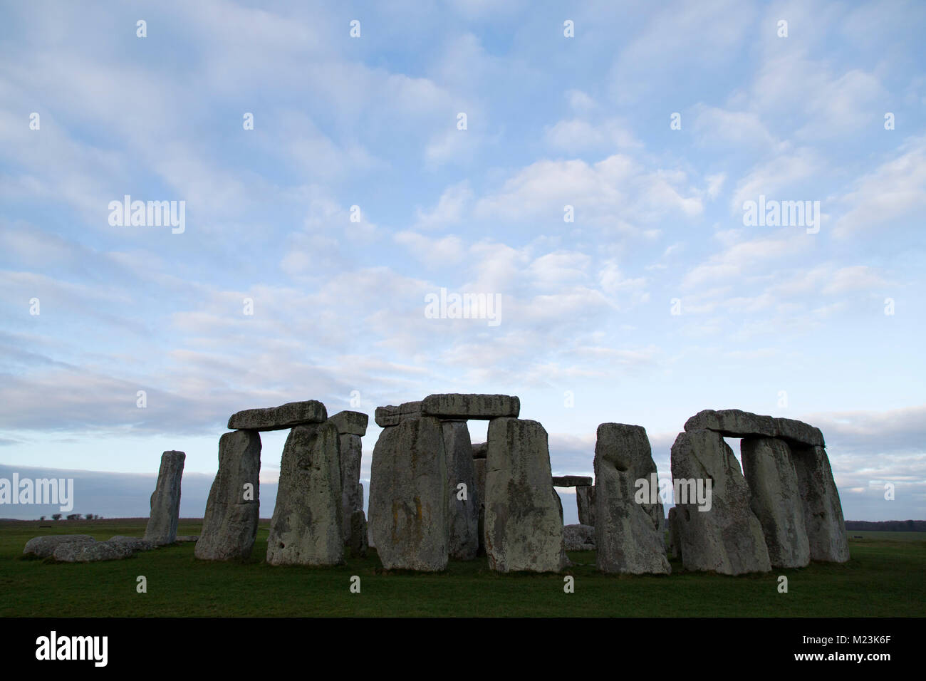 The Stonehenge stone circle in Wiltshire, England. The ancient monument dates from the Neolithic era, around 5,000 Stock Photo