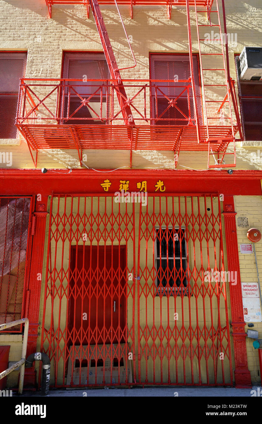 The facade of a Buddhist temple in Manhattan Chinatown.New York City.USA - Stock Image