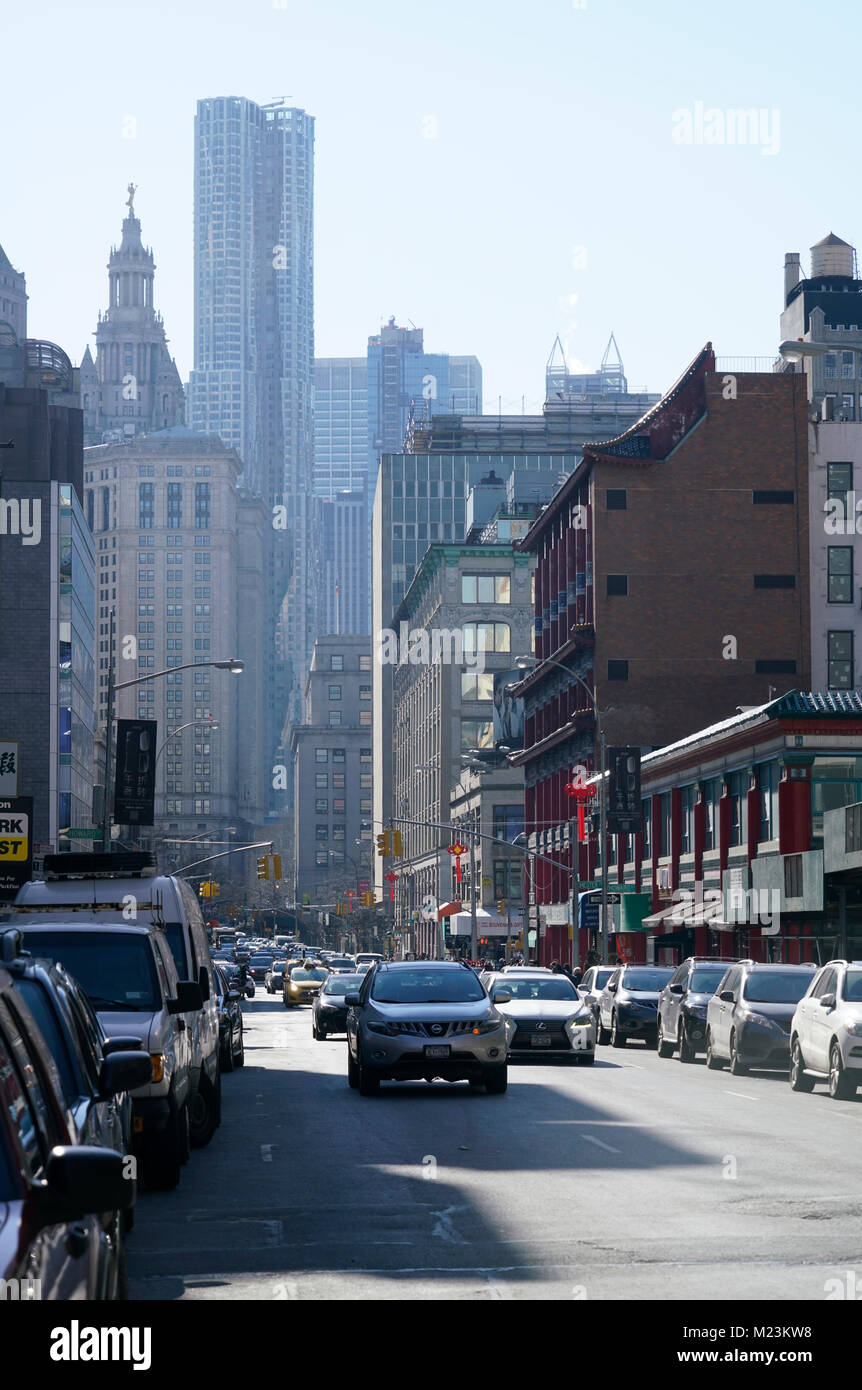 Centre Street at Manhattan Chinatown with New York By Gehry Building and Manhattan Municipal Building in downtown - Stock Image