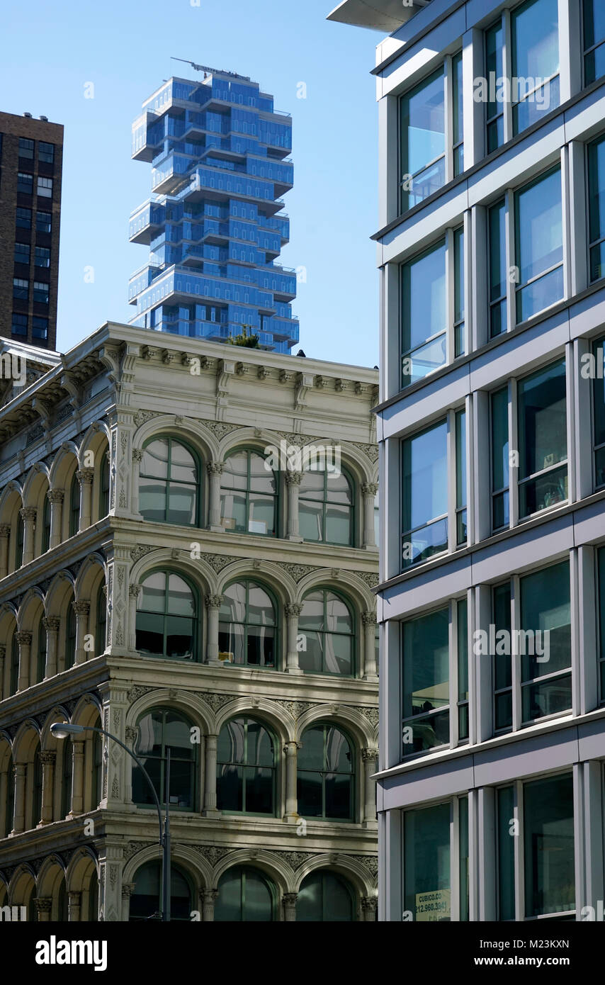 The view of 56 Leonard Street apartment tower from SoHo.Manhattan.New York City.USA Stock Photo
