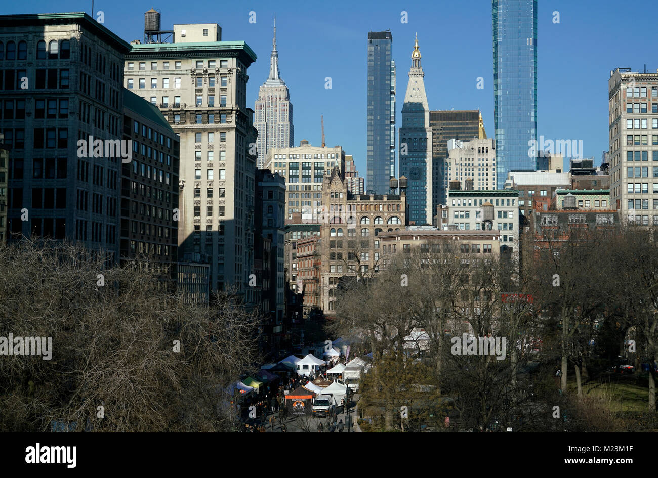 Union Square Park with Midtown Manhattan skyline in the background. Manhattan.New York City.USA - Stock Image