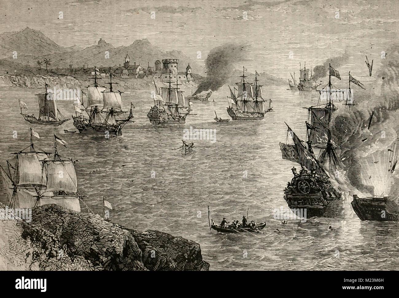 Henry Morgan's defeat of the Spanish Fleet - Stock Image