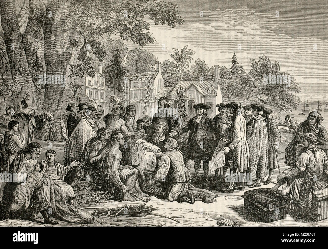 William Penn's Treaty with the Indians Stock Photo
