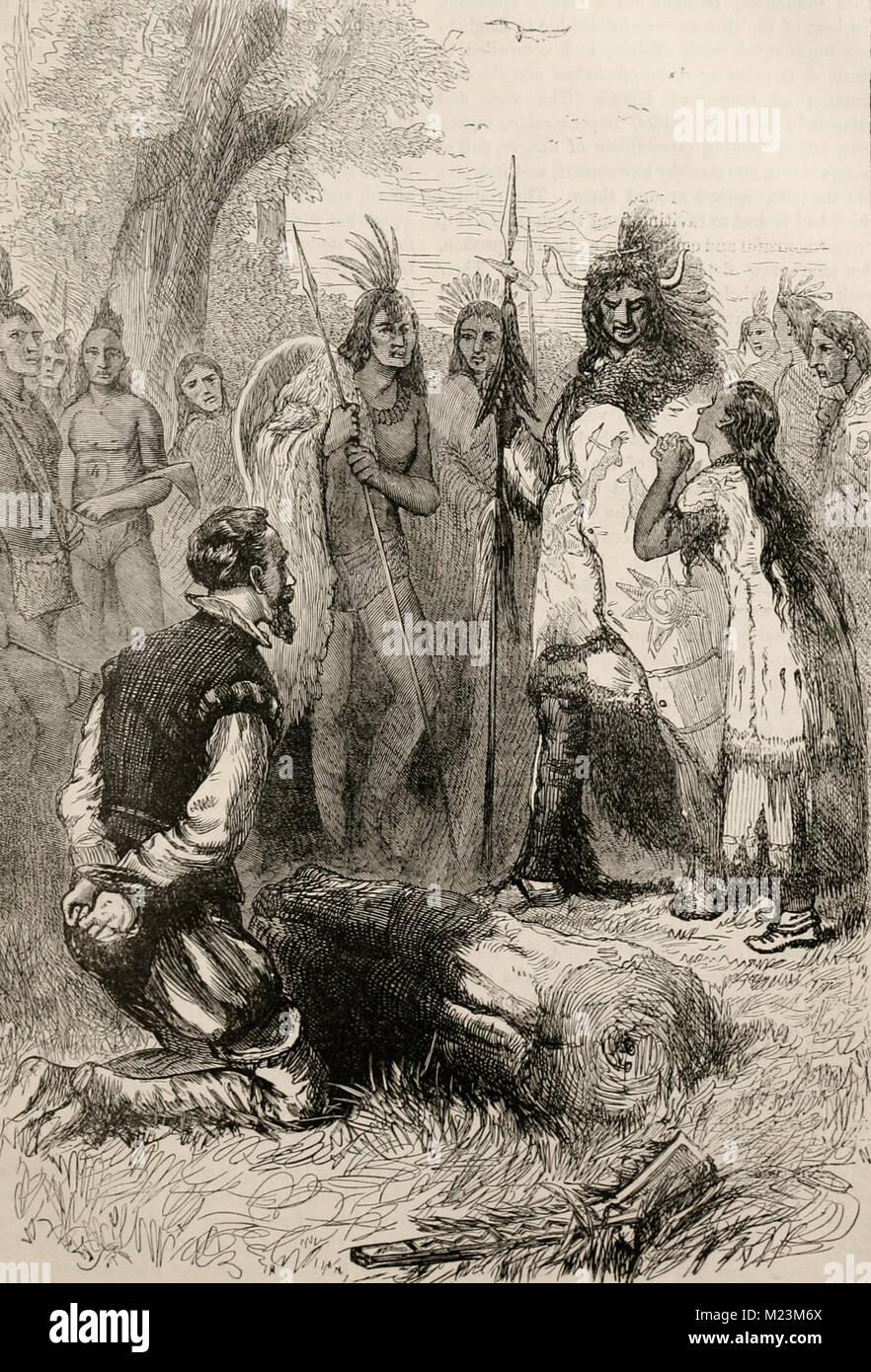 Pocahontas saves Captain Smith's Life - Stock Image