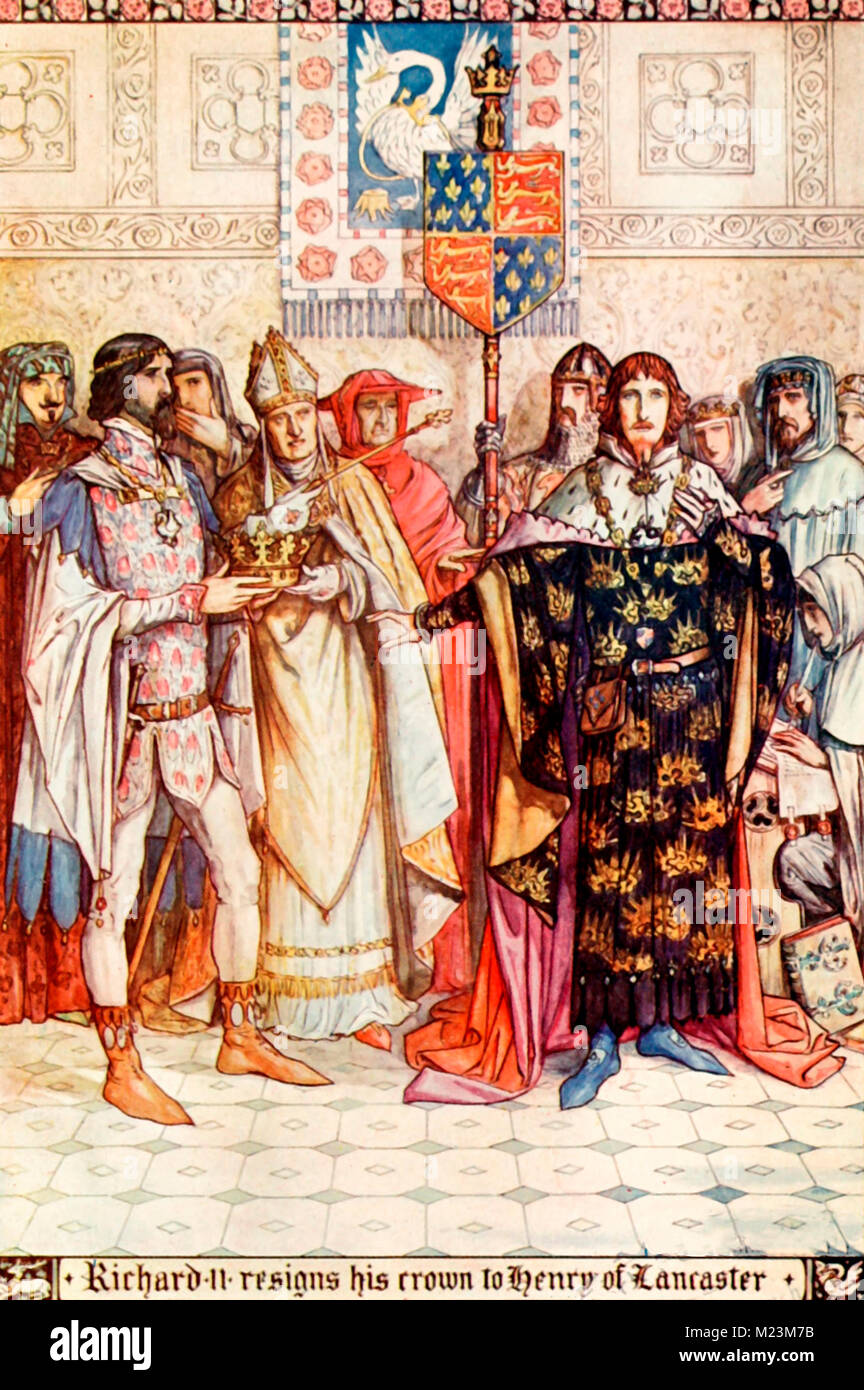 Richard II resigns his crown to Henry of Lancaster - Stock Image
