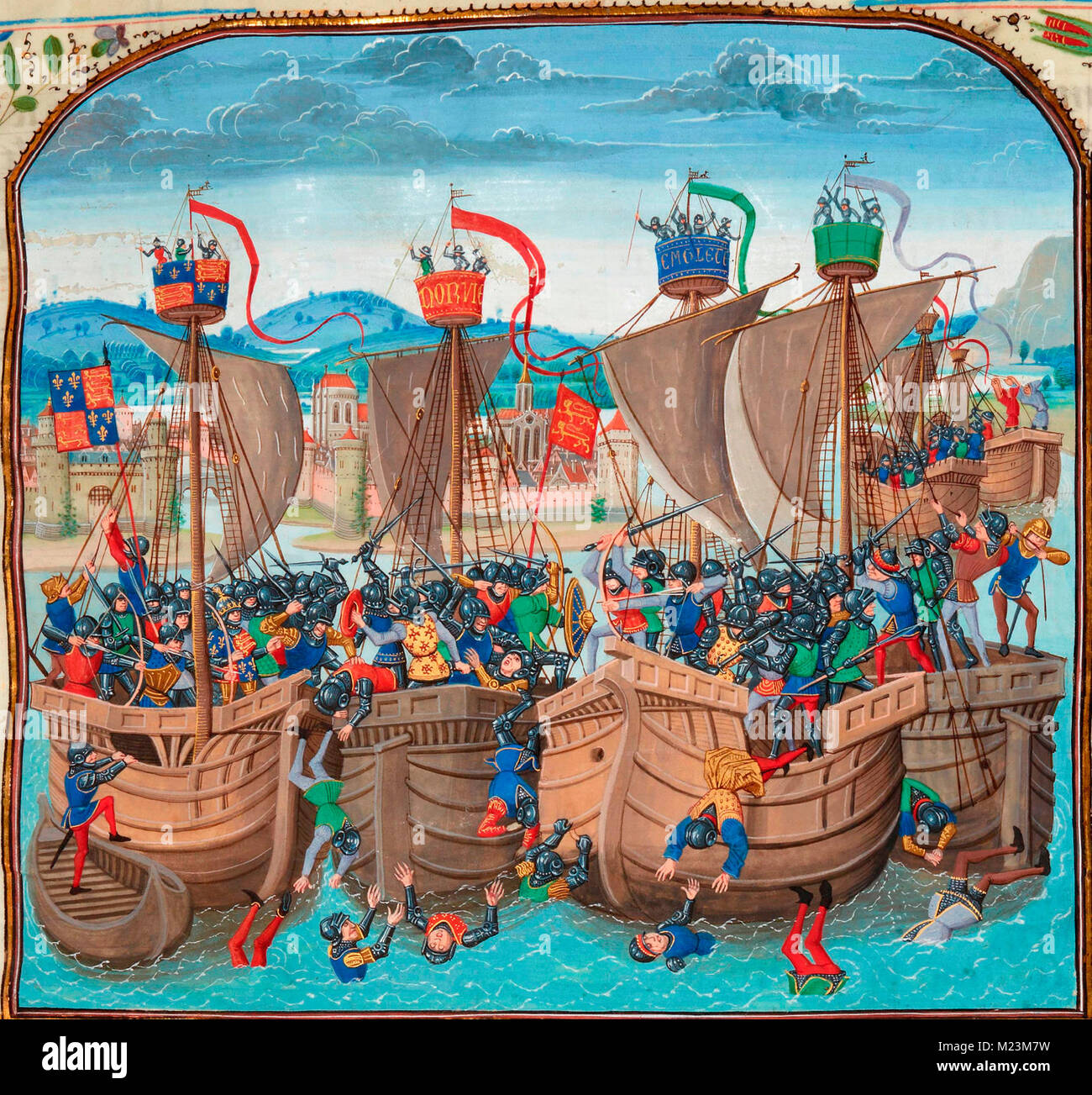 The Battle of Sluys, also called Battle of l'Ecluse, was a sea battle fought on 24 June 1340 as one of the opening - Stock Image