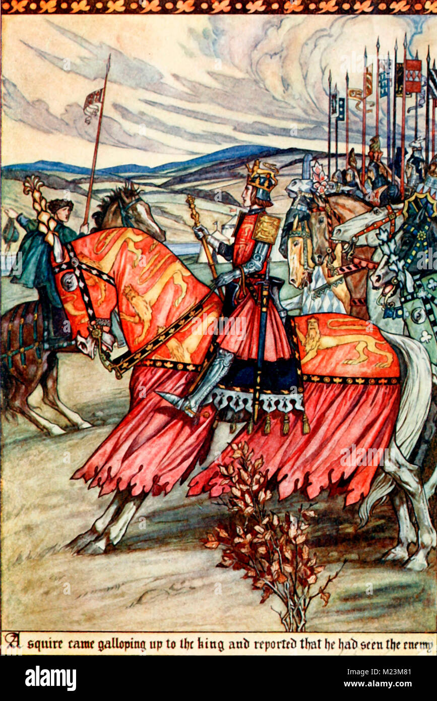 A Squire came galloping up to the King and reported that he had seen the enemy - Stock Image