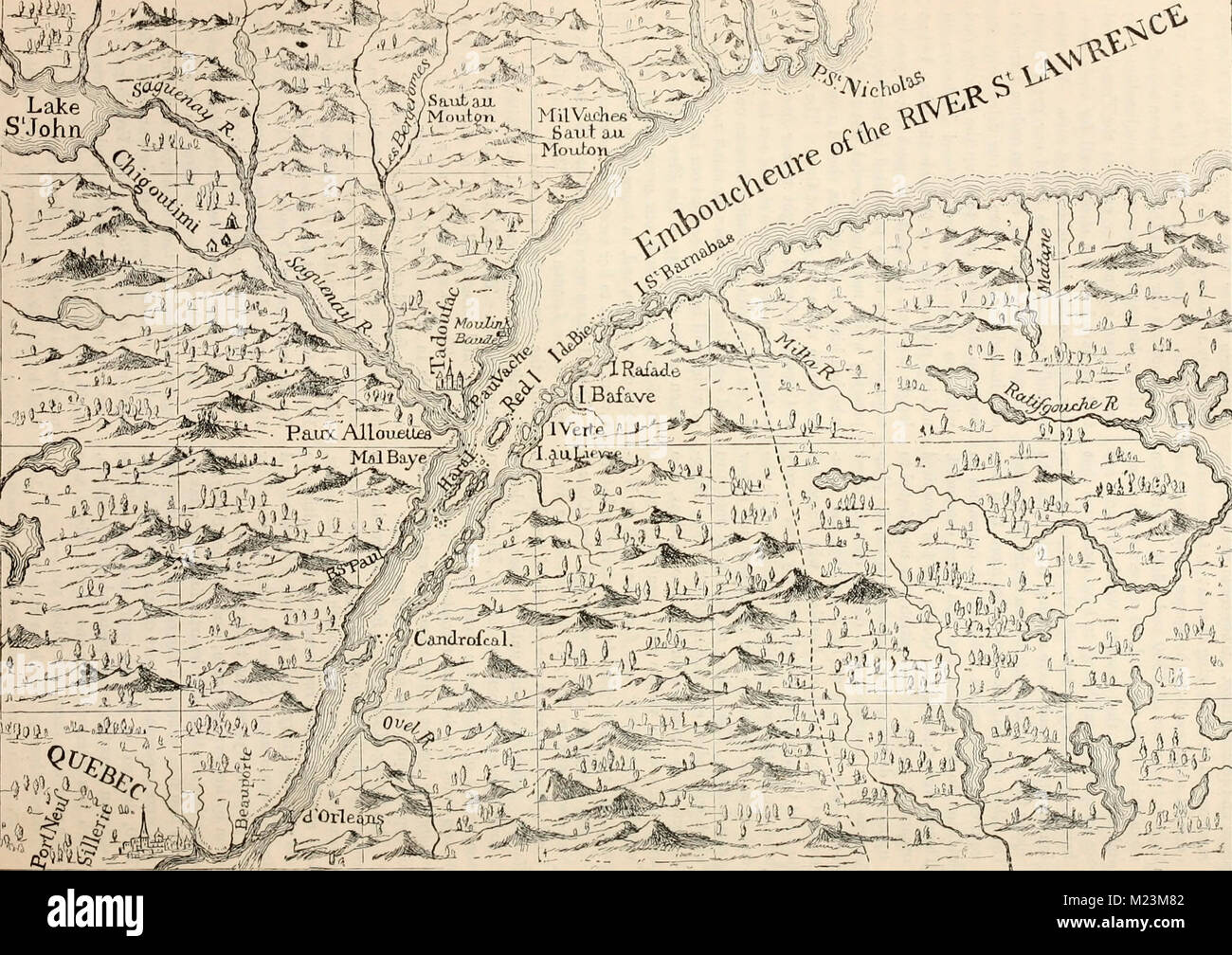 The Course of the River St. Lawrence as far as Quebec, circa 1700 - Stock Image