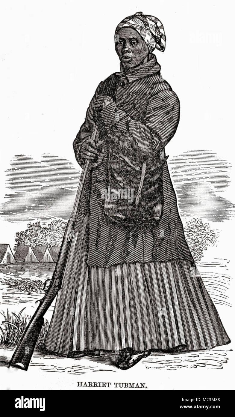 A woodcut image of Harriet Tubman, circa 1869 Stock Photo