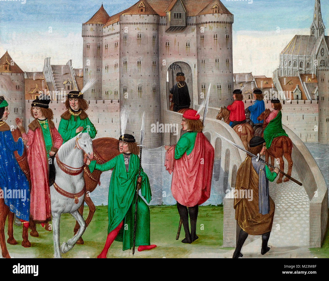 The Dukes of Berry and Burgundy Departing from Paris to Meet with the Duke of Bretagne. - Stock Image